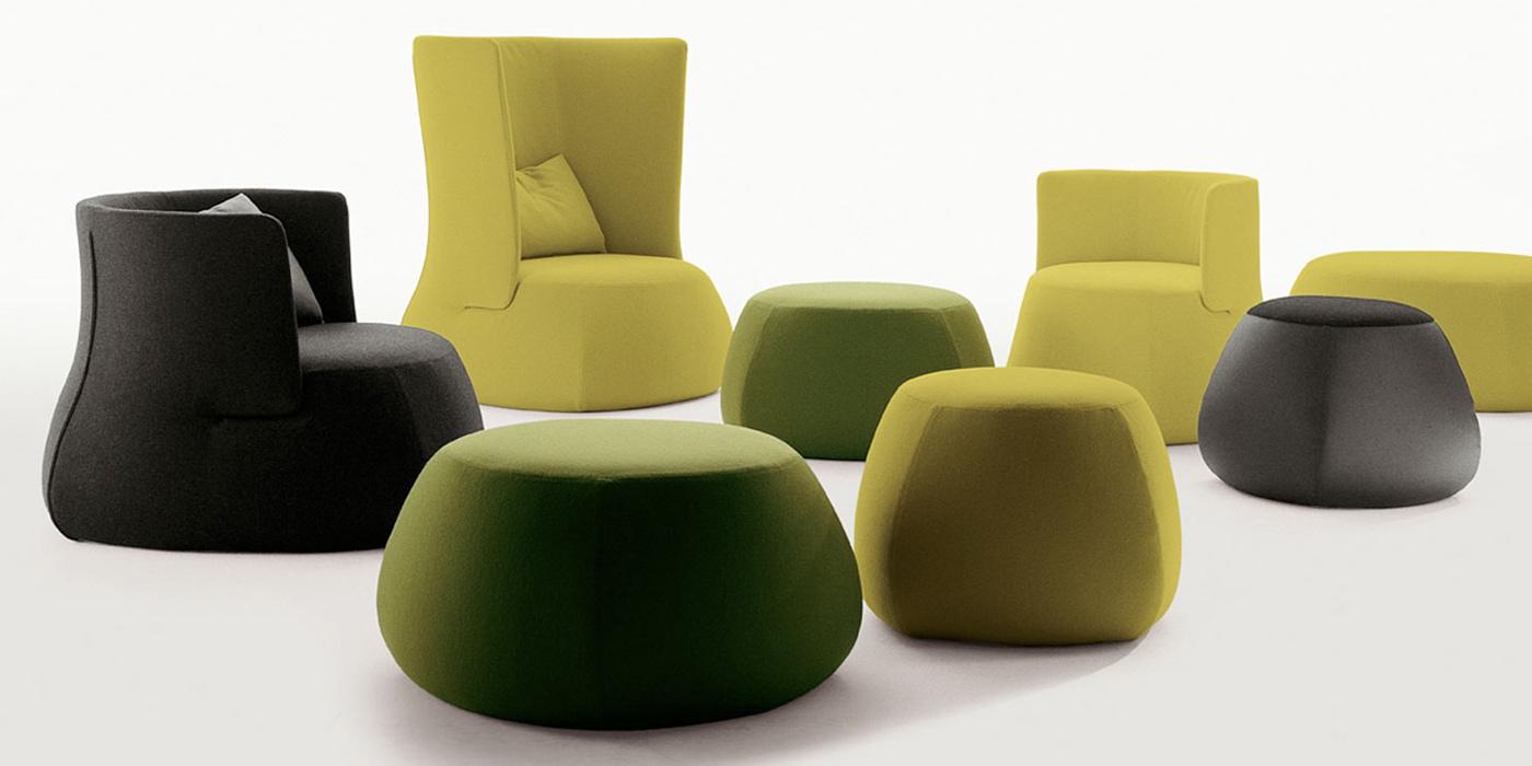 Miljøbilde av Fat-sofa ottoman og fat-fat brett